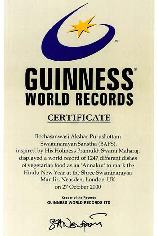 3rd guinness world record for annakut london uk for World record certificate template