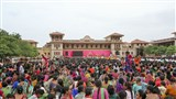 Rathyatra celebration assembly in the mandir grounds
