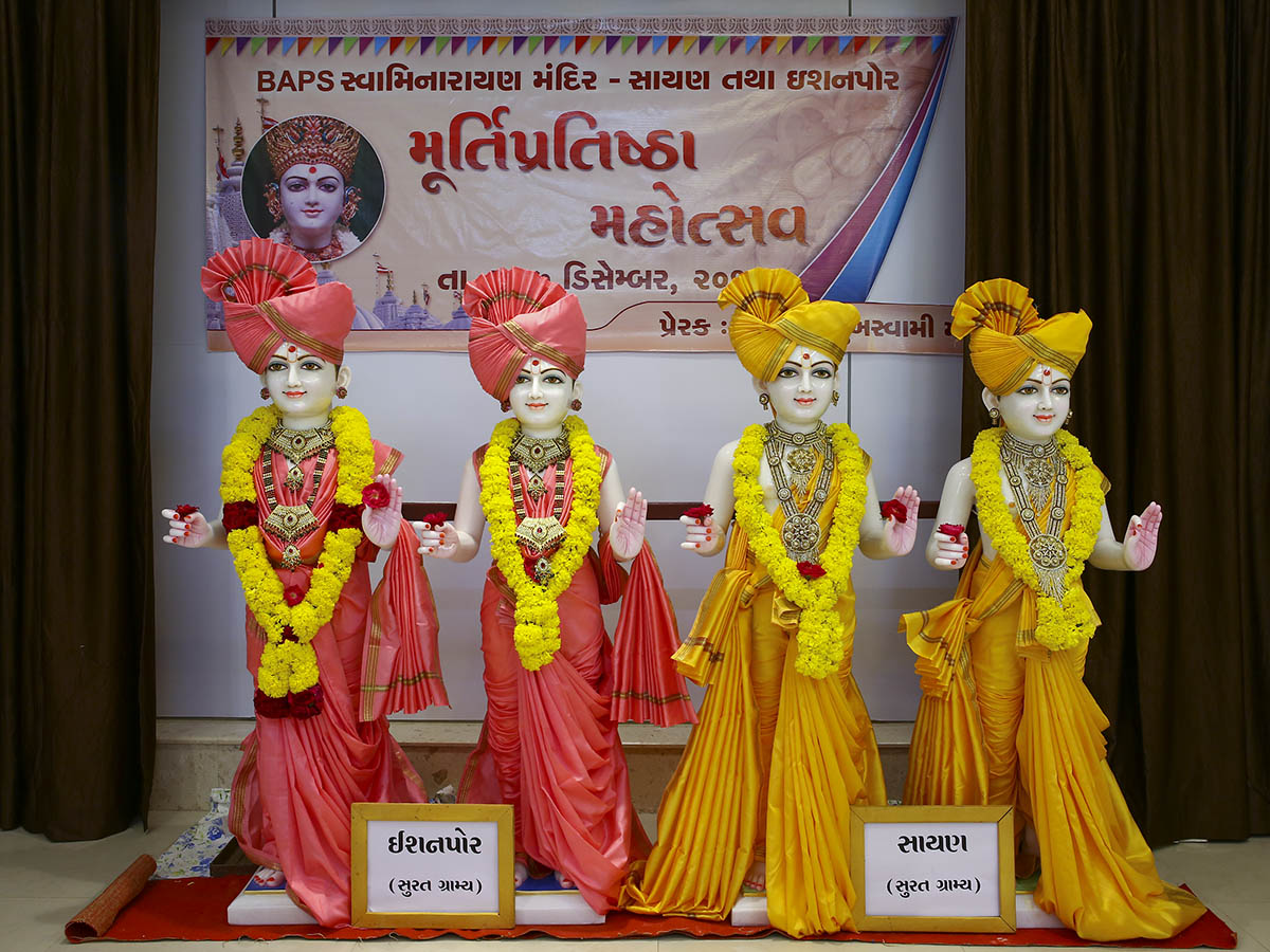 Murtis to be consecrated at BAPS Shri Swaminarayan Mandirs, Ishanpor and Sayan, Surat