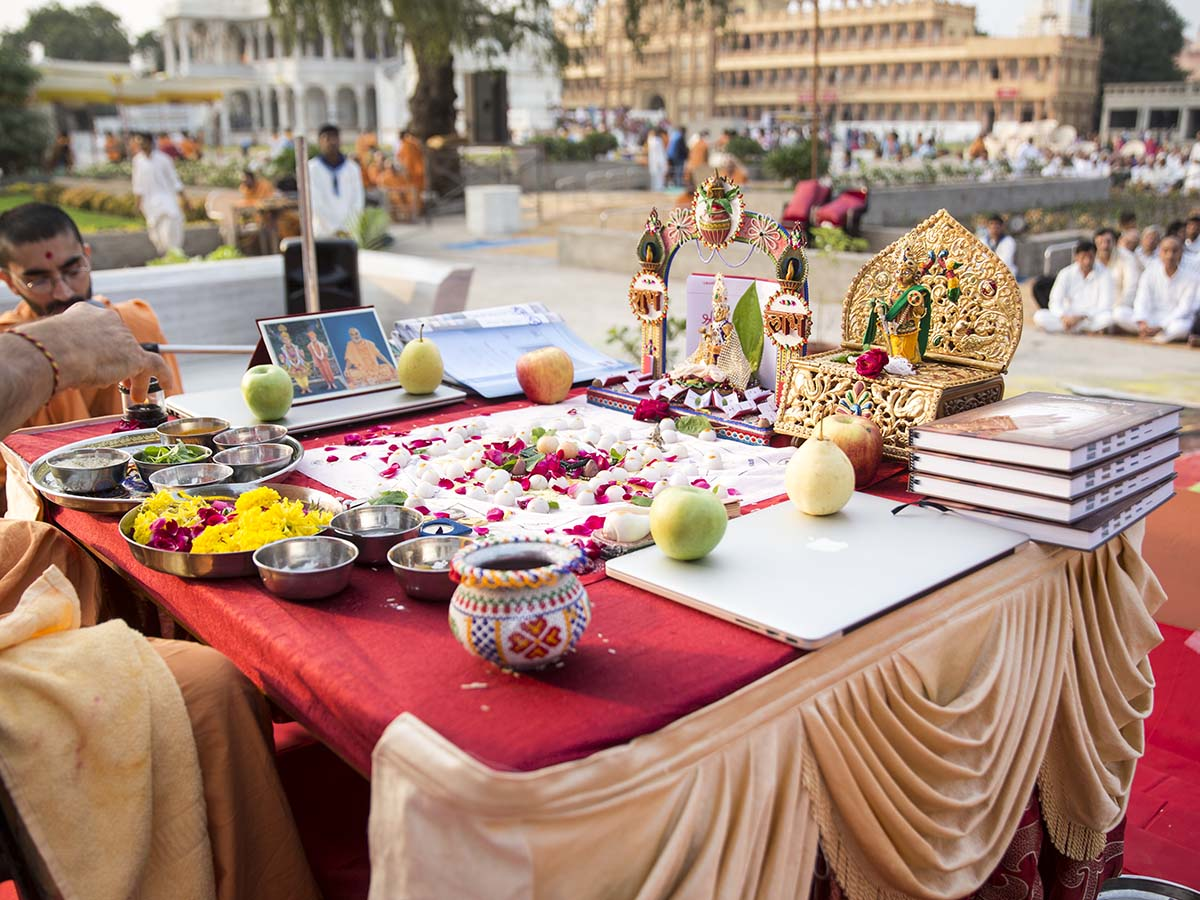 Mahapuja rituals being performed during Chopda Pujan