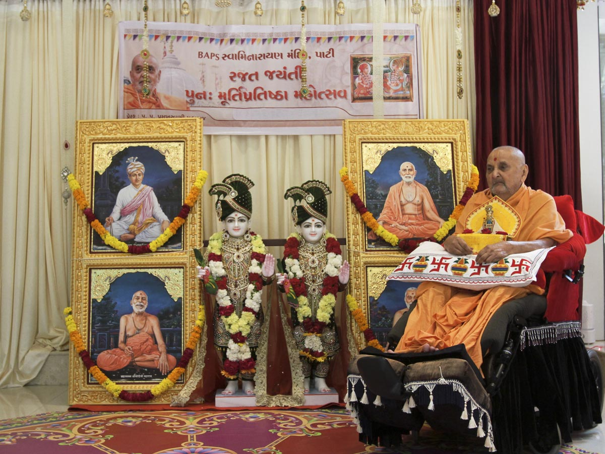 Swamishri performs pratishtha rituals of new murtis for BAPS Shri Swaminarayan Mandir, Pati, India
