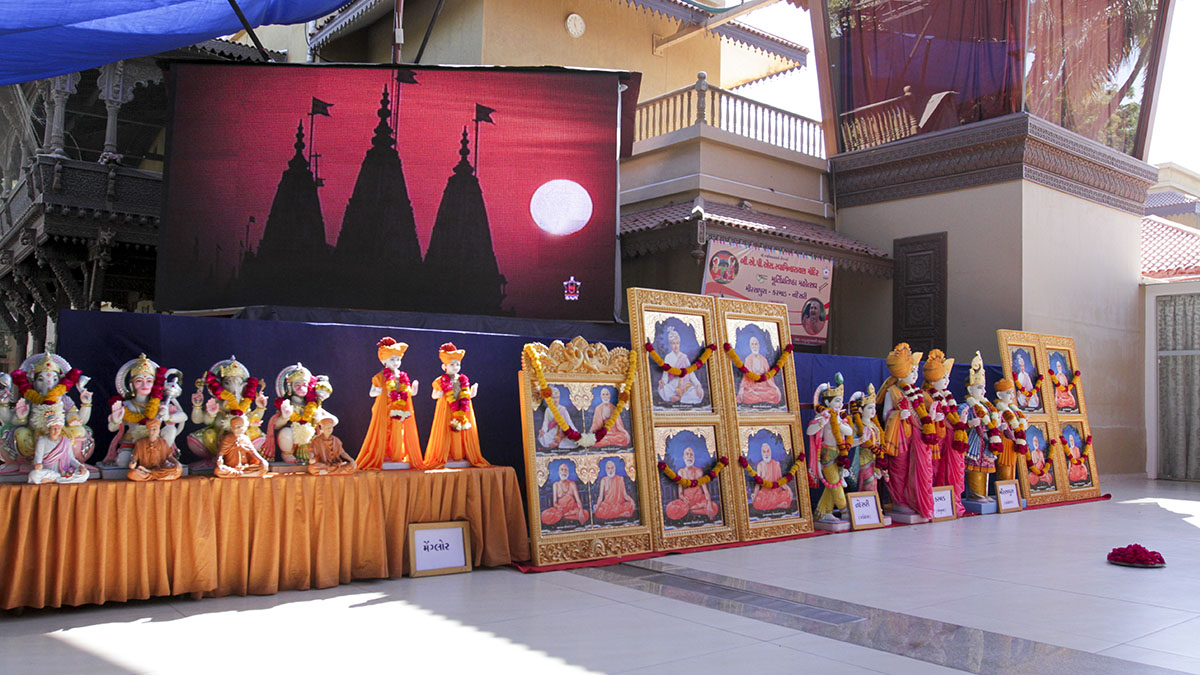 Murtis to be consecrated at new BAPS Shri Swaminarayan Mandirs at Nandesri, Karmad and Mirsapura (Gujarat) and Mangalore (Karnataka), India
