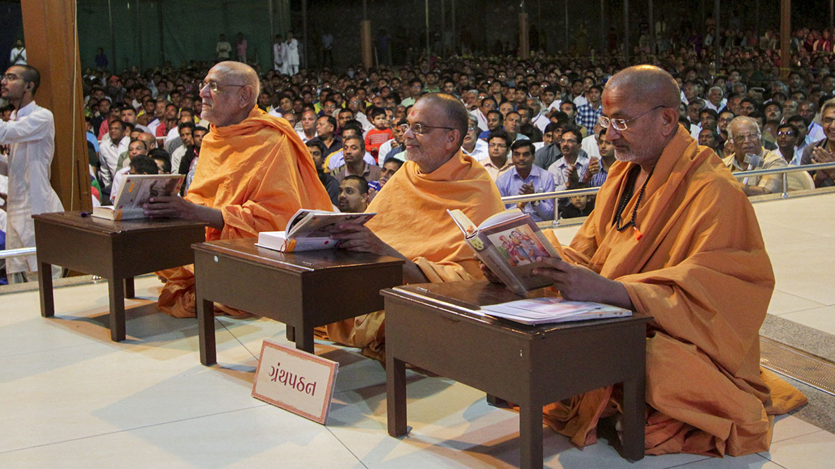 Sadhus participate in Granth Pathan Yagna - reading and understanding the scriptures