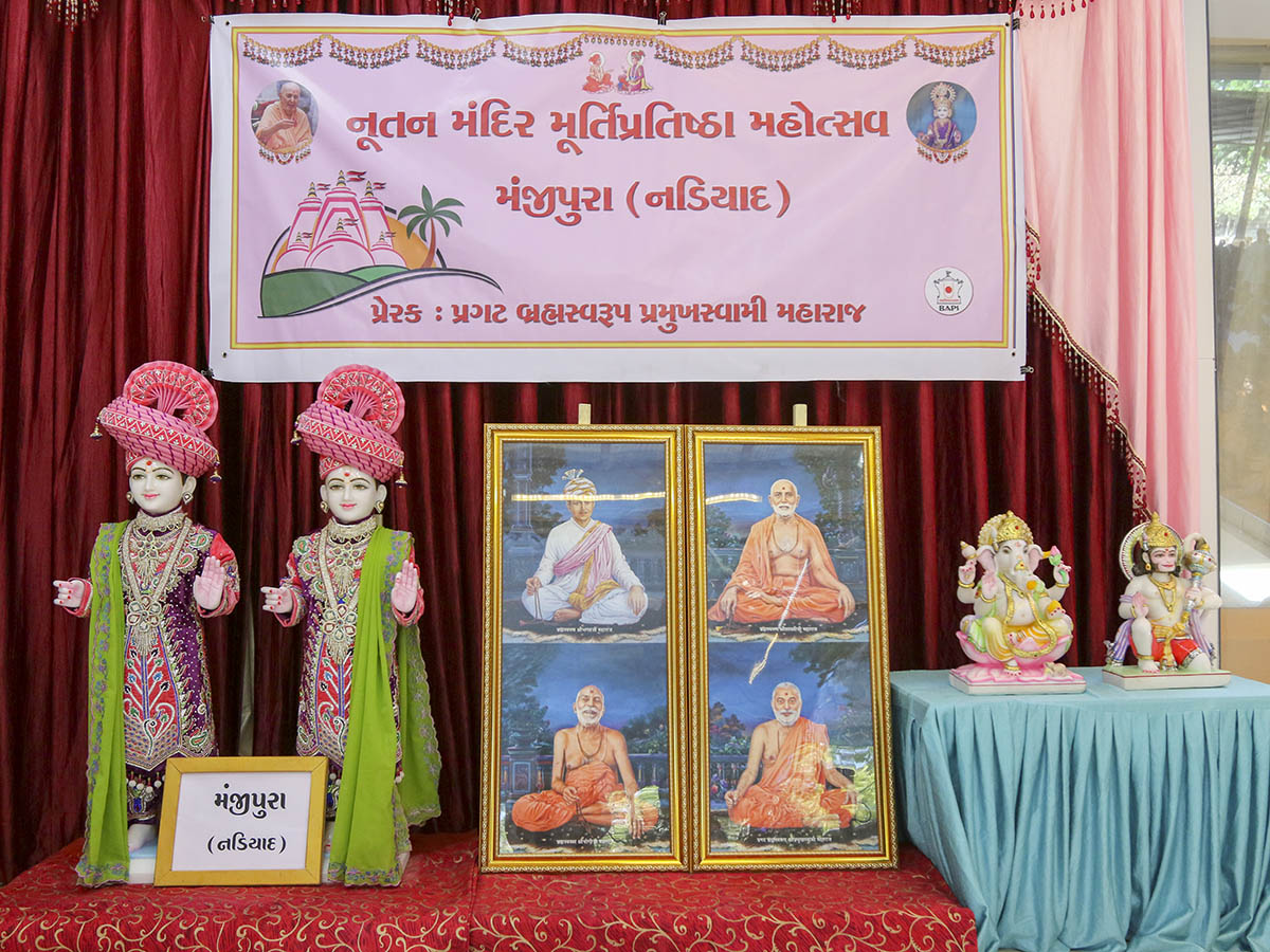 Murtis to be consecrated for new BAPS Shri Swaminarayan Mandir, Manjipura (Nadiad), India