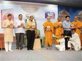 Sadhus and dignitaries inaugurate the book 'Aarohan'