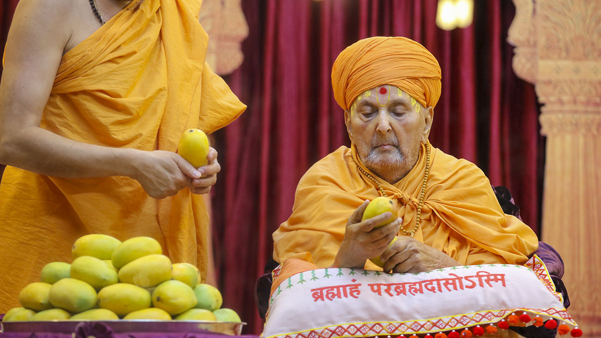 Swamishri sanctifies mangoes