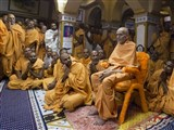 Param Pujya Mahant Swami and sadhus engrossed in darshan
