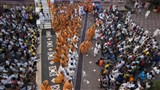 Sadhus and devotees doing darshan of Param Pujya Mahant Swami