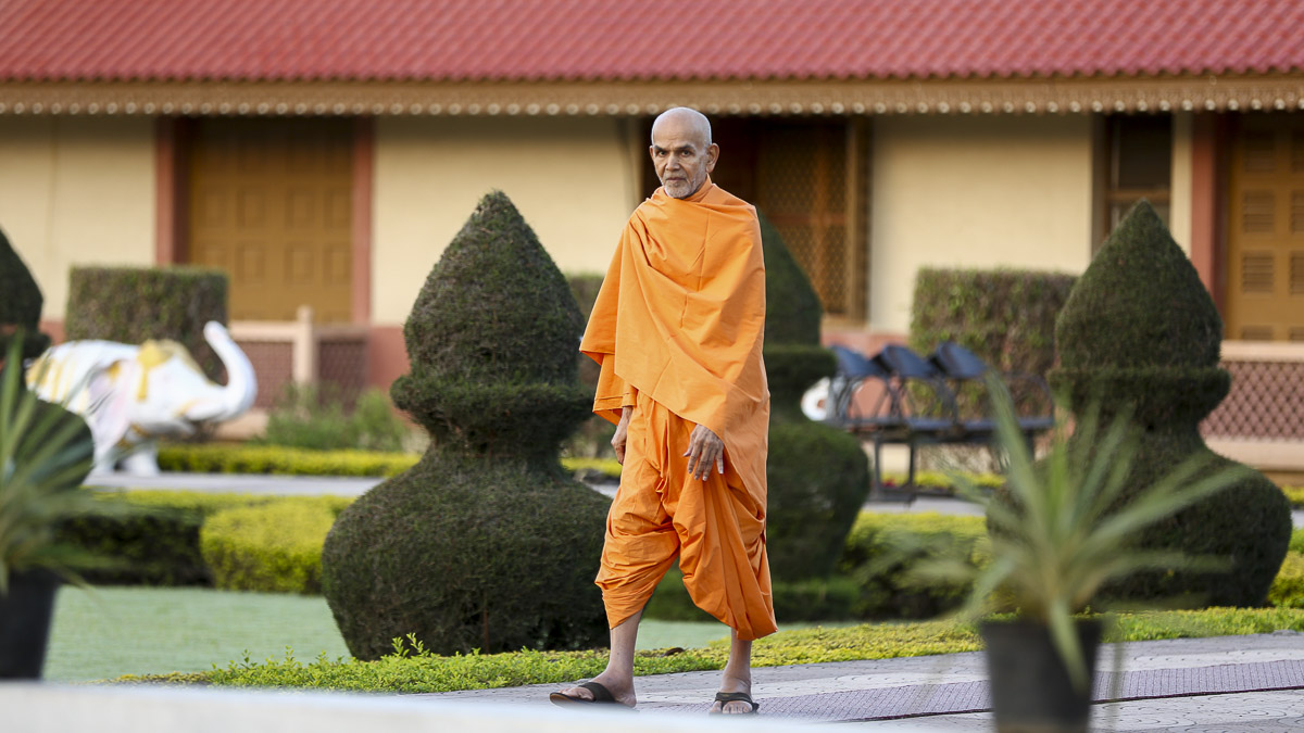Param Pujya Mahant Swami during his morning walk, 22 Oct 2016