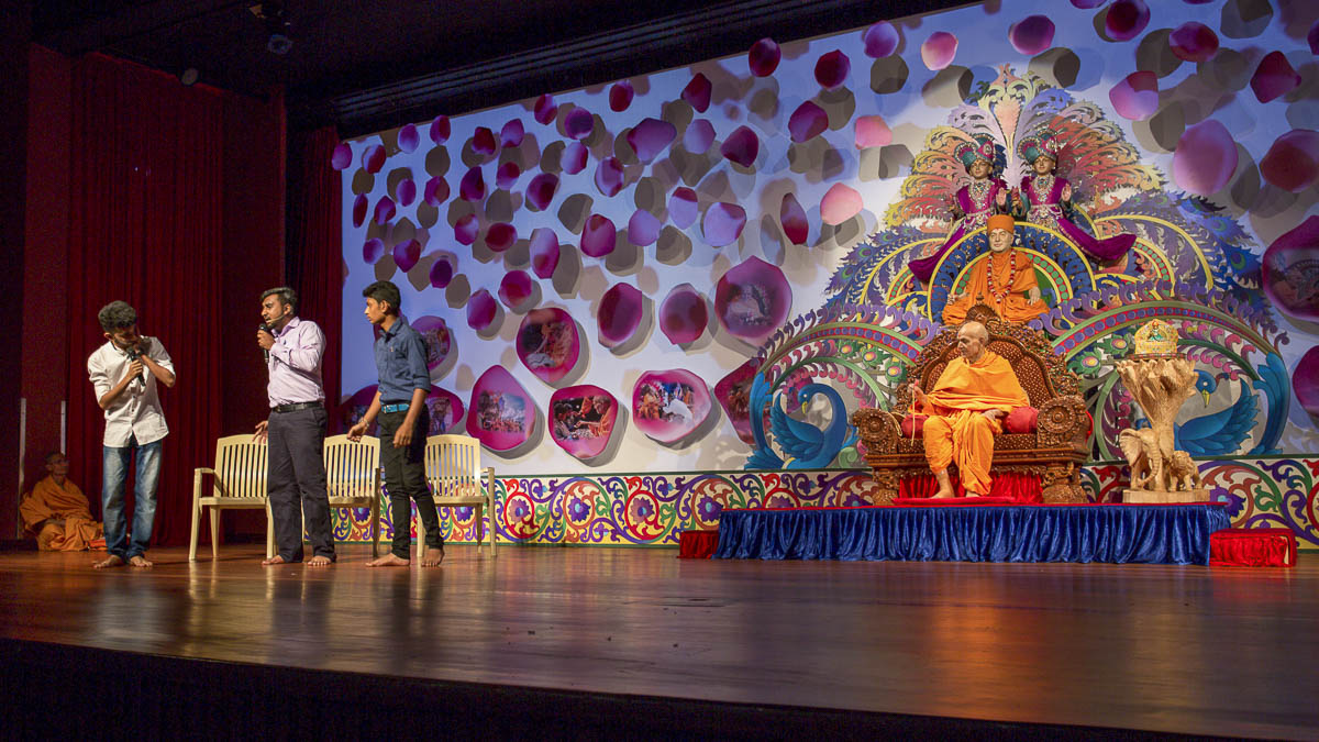 A skit presentation by youths in the evening satsang assembly, 12 Apr 2017