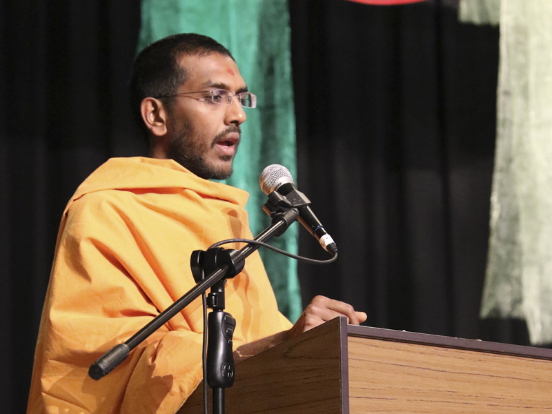 Vedantpriya Swami addresses the welcome assembly