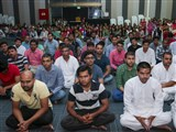 Devotees during the kirtan aradhana assembly