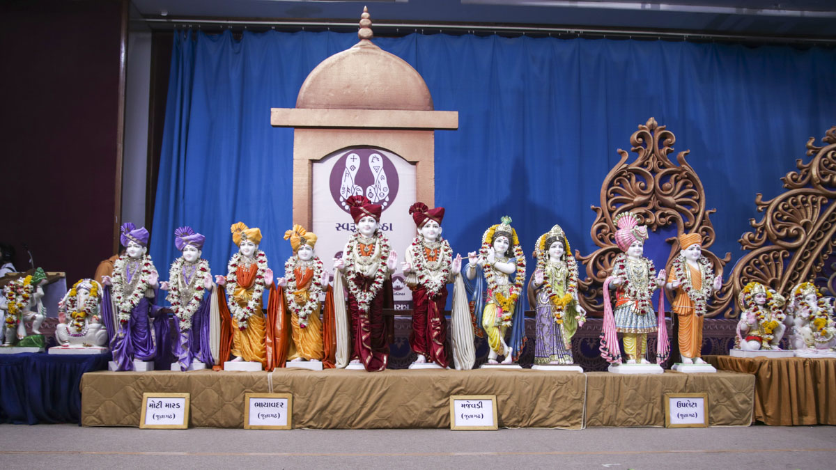 Murtis to be consecrated for the new BAPS Shri Swaminarayan Mandirs in Moti Marad, Bhayavadar, Majevadi and Upleta (Junagadh region), 1 Jun 2017