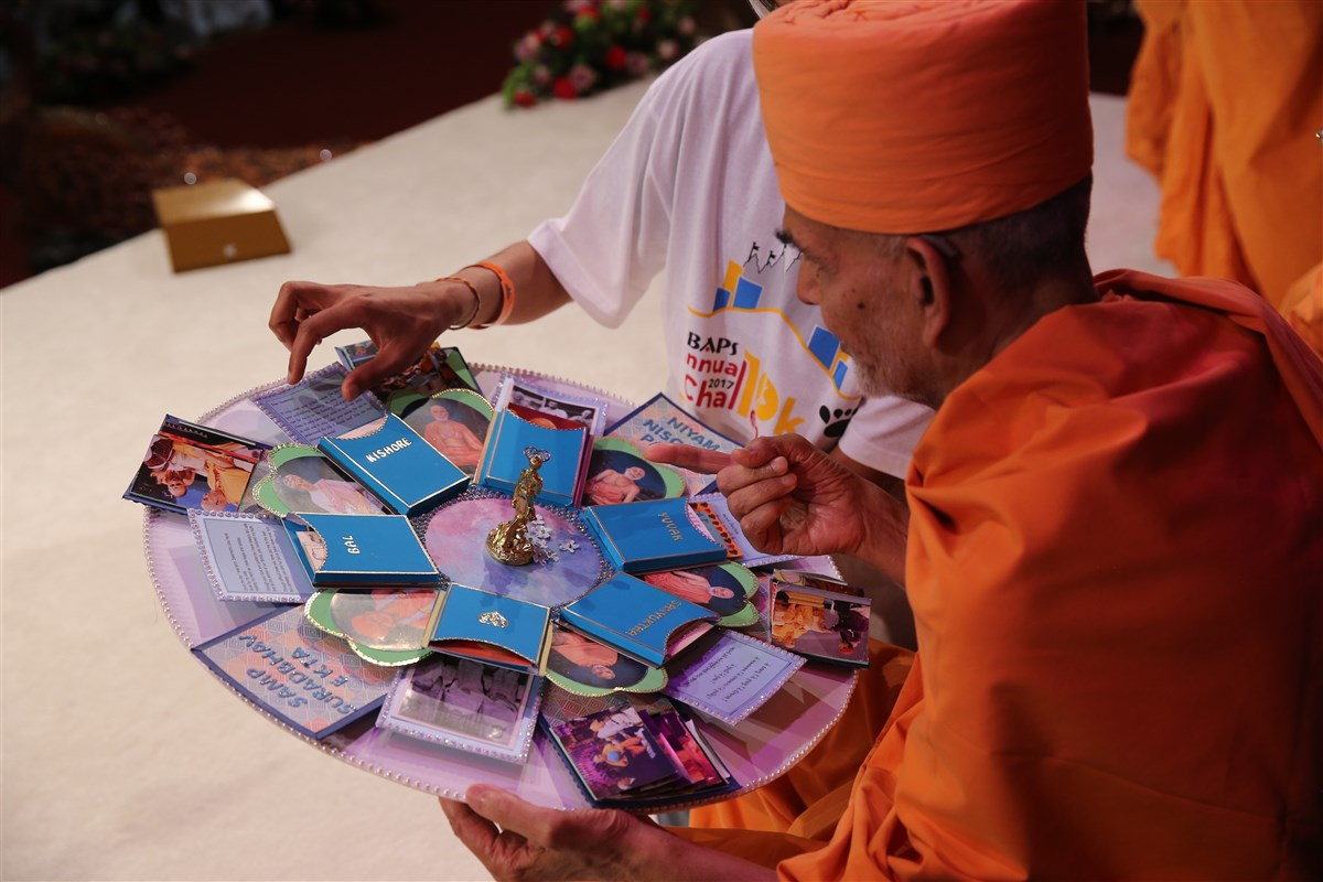 Swamishri takes eager interest in a special card