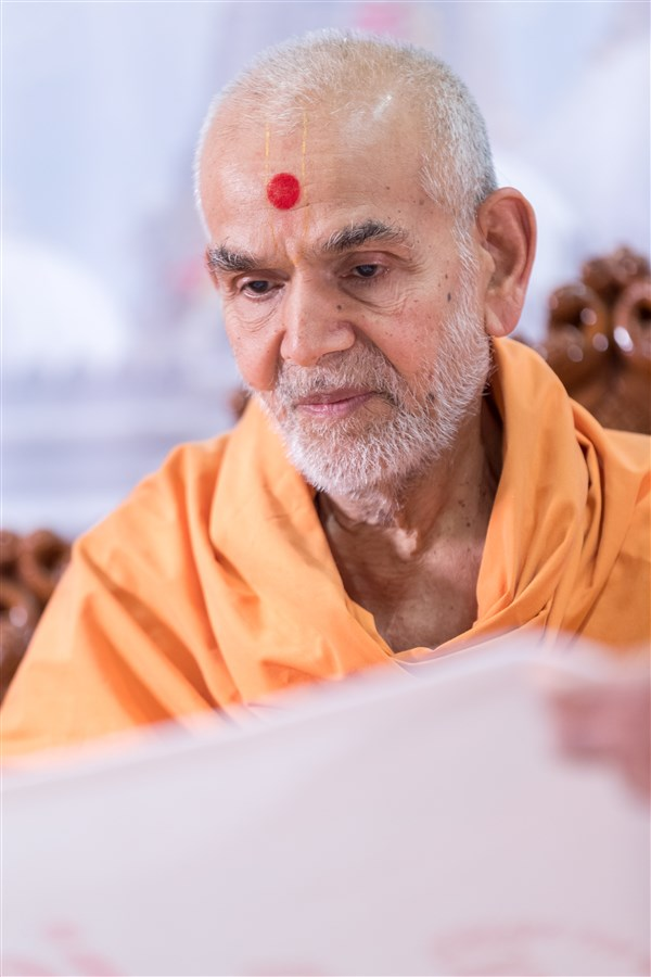 Swamishri blesses the theme of the Kishore-Kishori Din