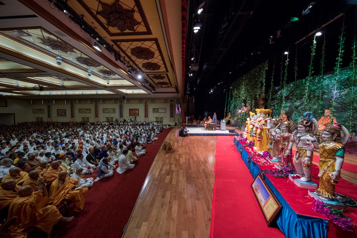 Devotees engaged in the morning assembly