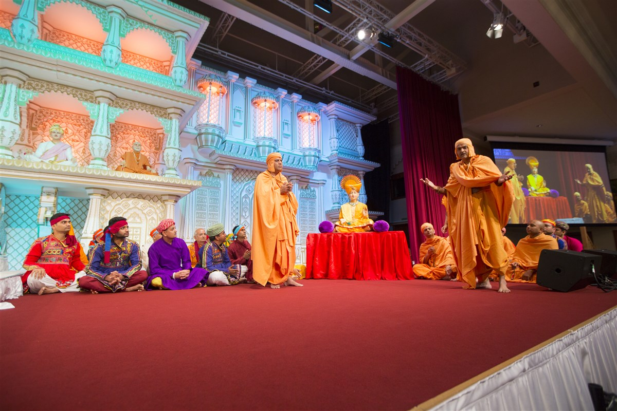 Yuvaks enact an episode from the life of Nityanand Swami...