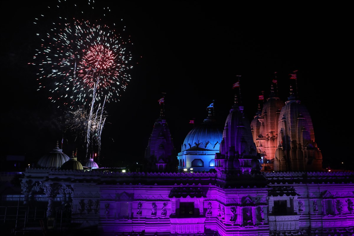 The Diwali fireworks light up the skies of north-west London
