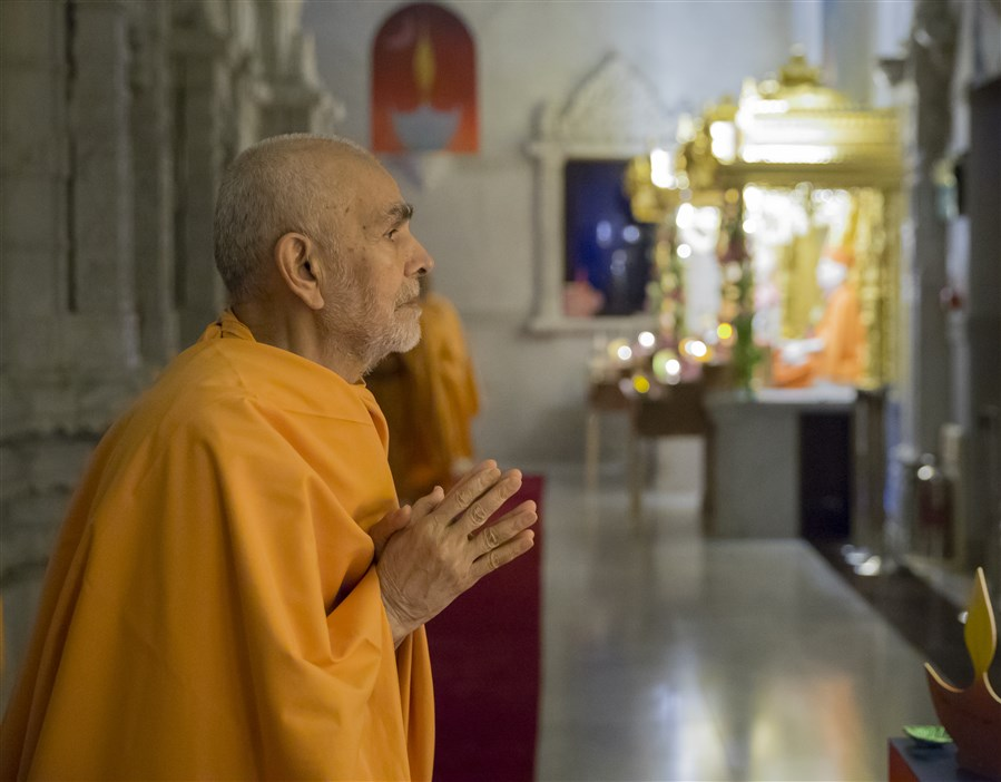 Swamishri engrossed in the darshan of the Guru Parampara