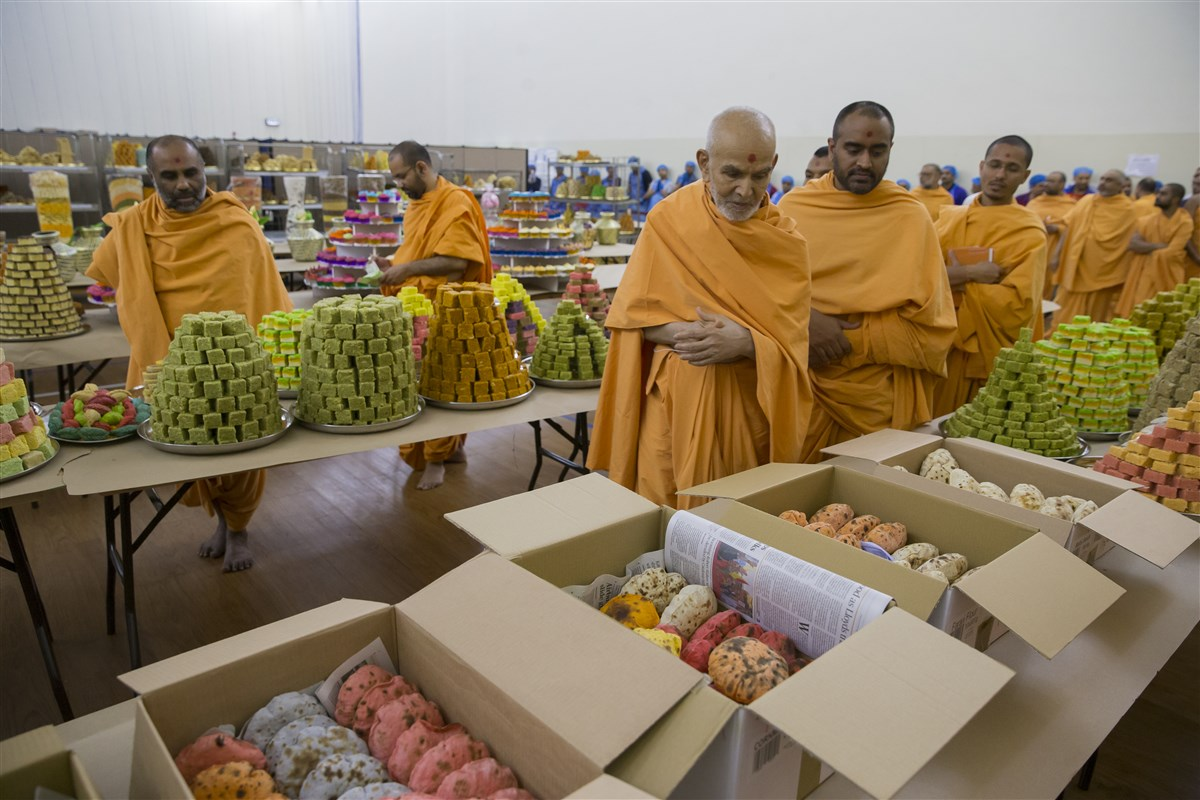 Swamishri observes the annakut offerings
