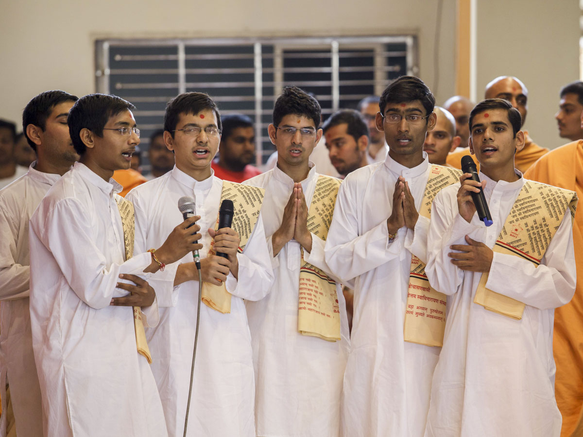 Youths chant Vedic mantras