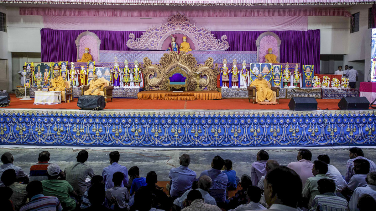 Murtis to be consecrated during the evening satsang assembly  for the new BAPS Shri Swaminarayan Mandirs at Sundarna, Jantral, Joshikuva, Sayla and Rajupura, India