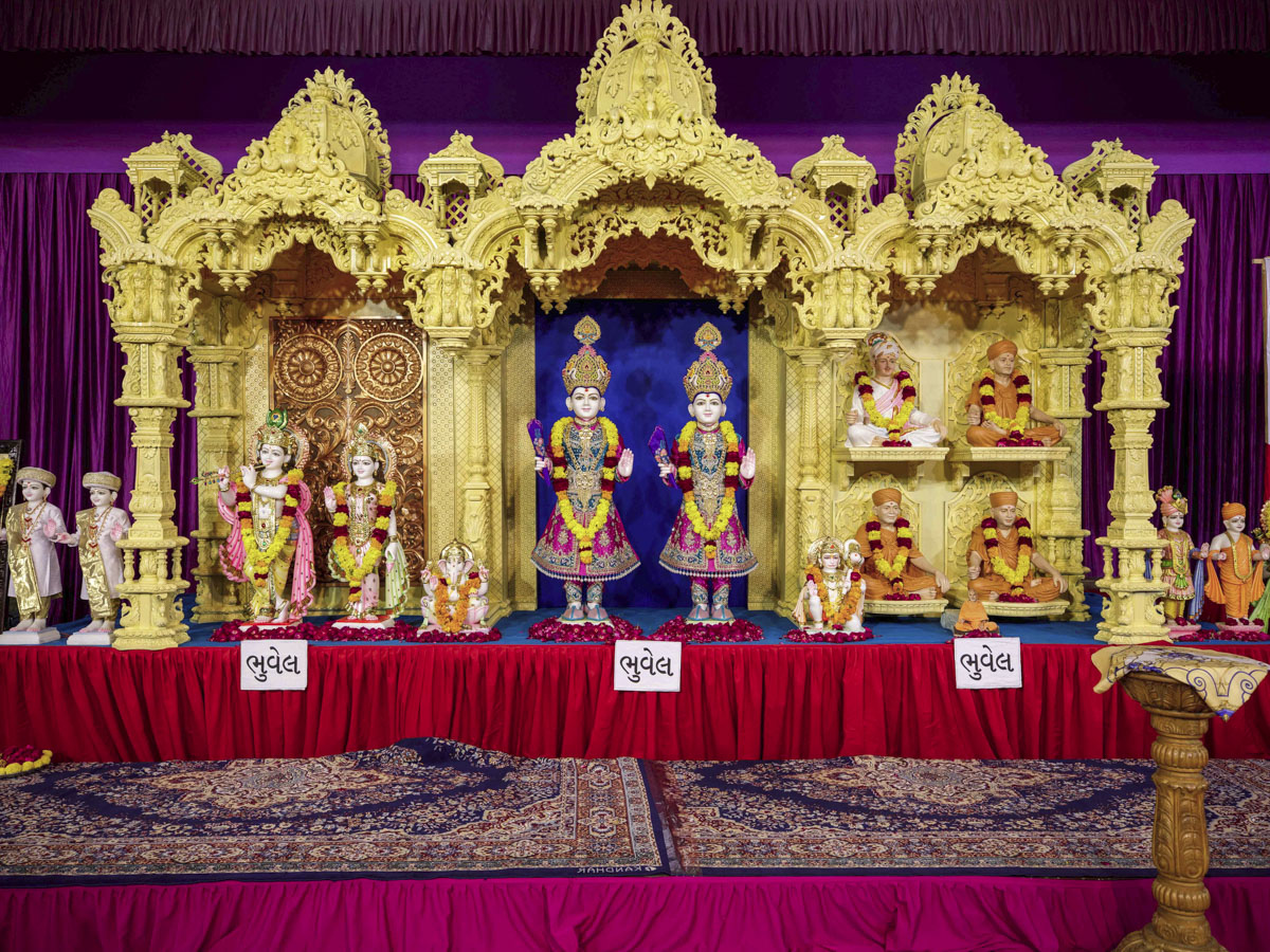 Murtis to be consecrated during the evening satsang assembly for the BAPS Shri Swaminarayan Mandir at Bhuvel, India