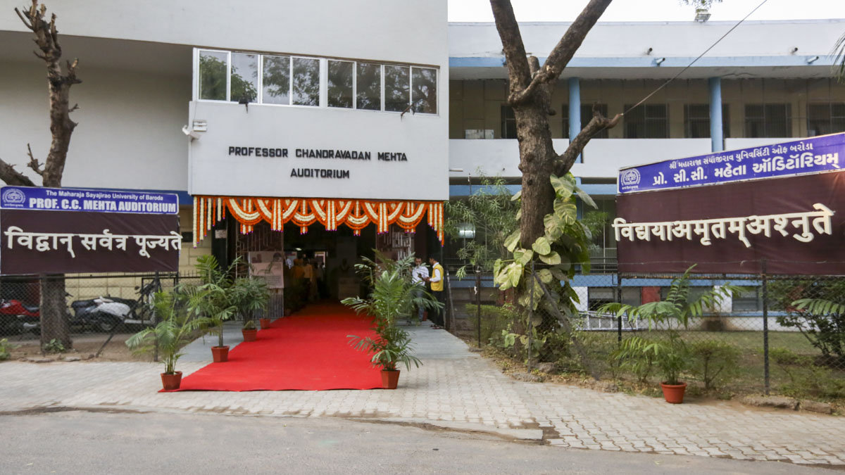 Venue, Prof. C.C. Mehta Auditorium, MS University of Baroda