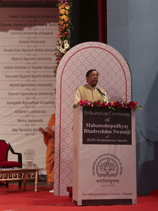 Vice Chancellor of The Maharaja Sayajirao University of Baroda, Dr. Parimal Vyas,  delivers a speech