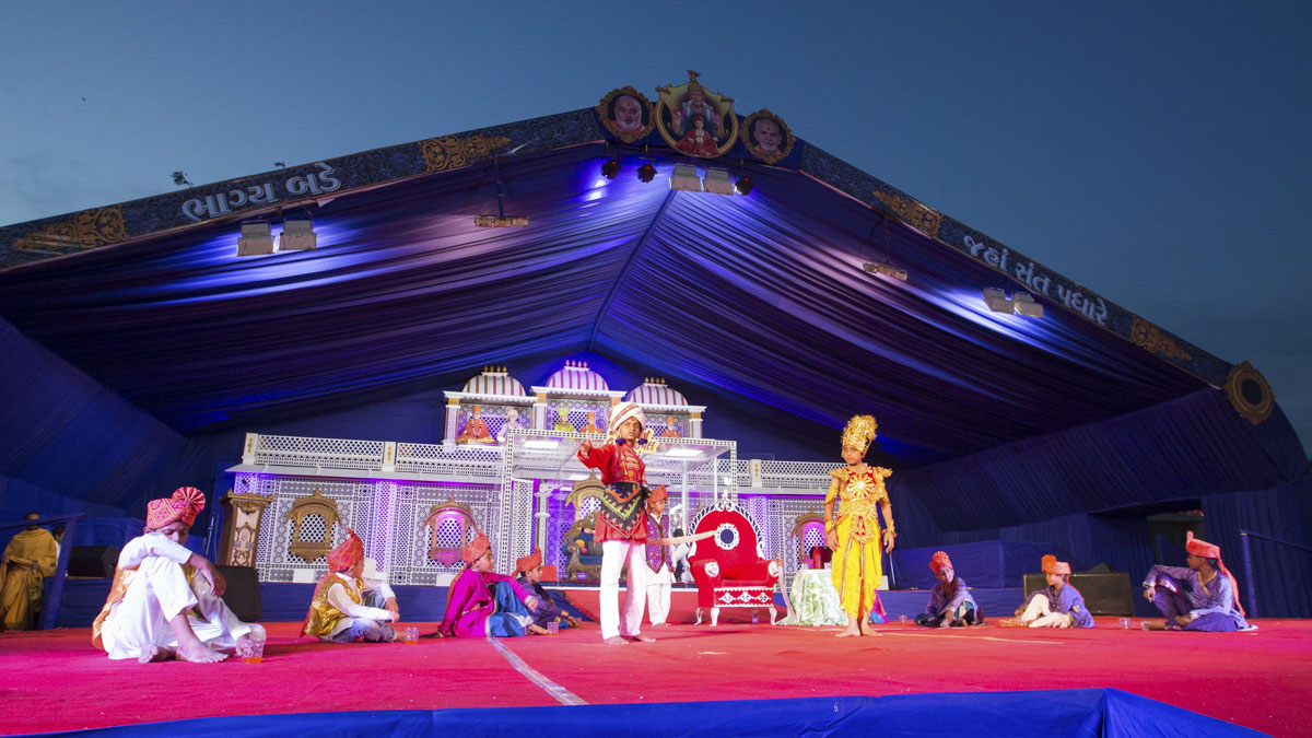 Children perform a cultural program in the evening Bal Din assembly