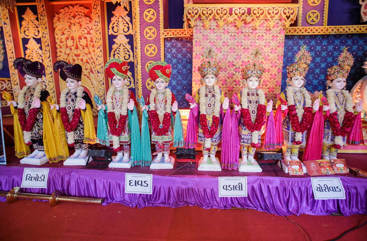 Murtis to be consecrated at BAPS Shri Swaminarayan Mandirs in Chitrodi, Davad, Vadali and Chorivad, Gujarat, India