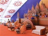 Pujya Ishwarcharan Swami performs the ground-breaking ceremony mahapuja rituals