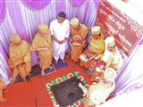 Pujya Ishwarcharan Swami and sadhus perform ground-breaking ceremony