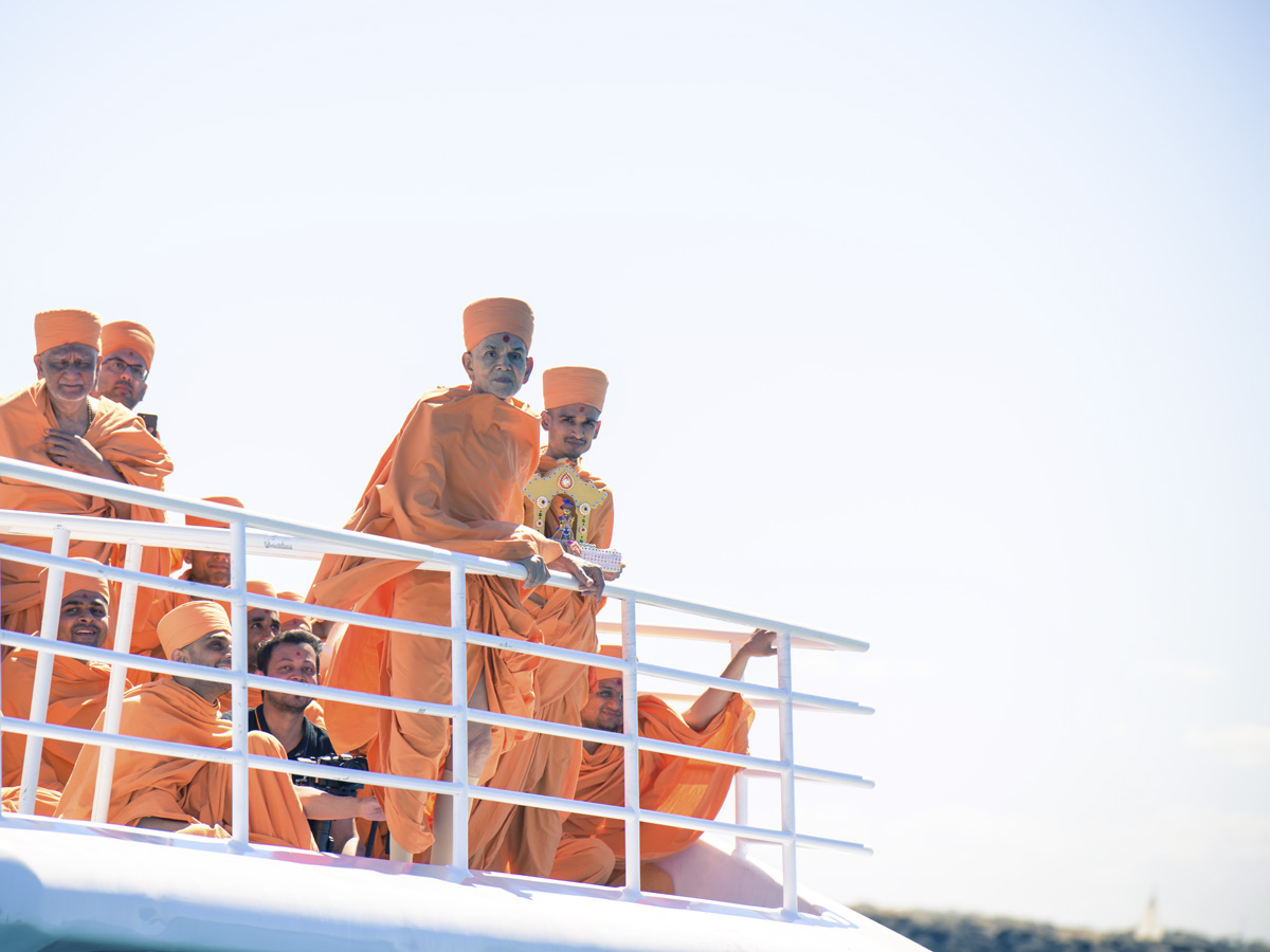 Swamishri on the deck of the boat