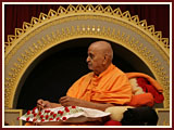 Swamishri is seen absorbed in the cultural program
