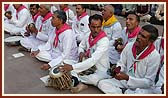 Devotees from Badalpur area sings bhajans and play traditional musical instruments