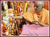 Swamishri performs the pratishtha rituals for new BAPS hari mandir of Palaj and Kachhal