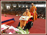 Swamishri sanctifies bricks for the foundation stone laying ceremony for three BAPS sanskardhams in Botad