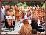 Skit presentation before Swamishri at Smruti Mandir pradakshina