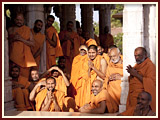 Sadhus engaged in Swamishri's darshan