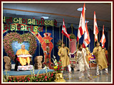 A cultural program presentation before Swamishri