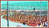 Sadhus and devotees in the pratishtha assembly