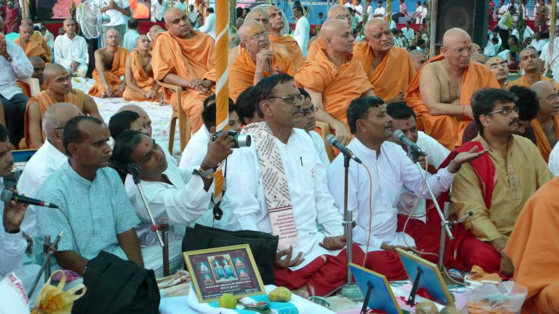 Brahmins chant Vedic mantras during the yagna