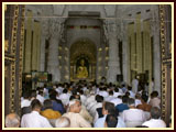 Devotees during the mahapuja rituals