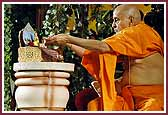Evening ,Swamishri places flowers at the lotus feet of Shri Harikrishna Maharaj
