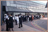 Awaiting Swamishri's arrival at London Heathrow's Terminal 3 - Departures