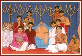 The dance troupe with Swamishri