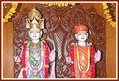 Annakut is offered to the newly consecrated murtis