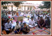 Satsang assembly held on a local farm