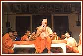Swamishri blesses and inspires the trribal devotees with his divine words